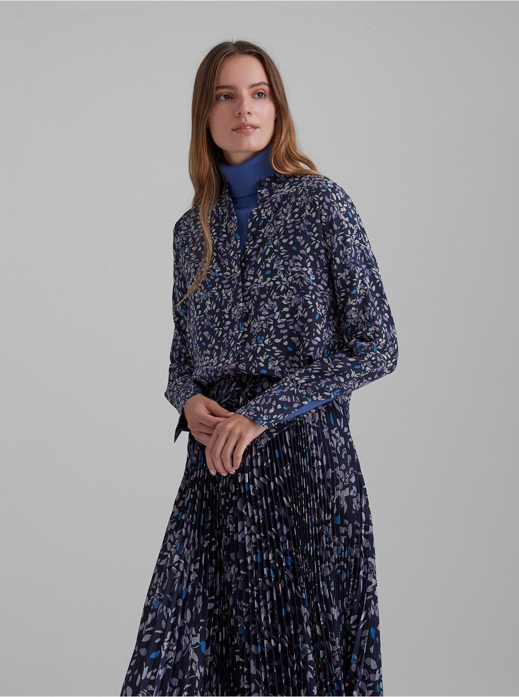 Printed Silk Dolman Sleeve Shirt