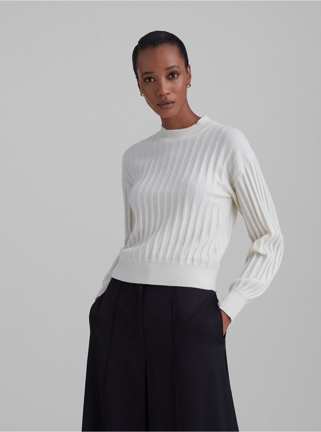 Ribbed Cashmere Blouson Sleeve Sweater
