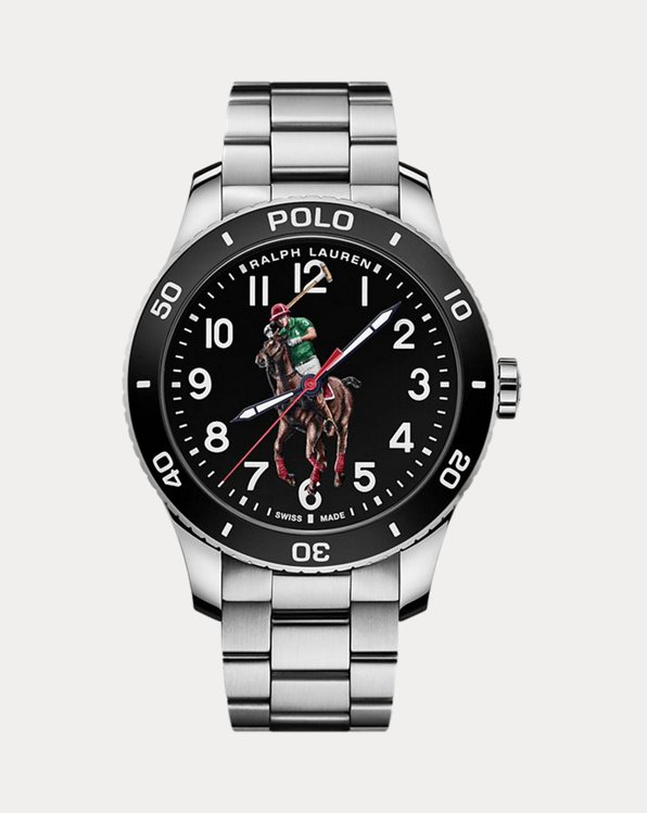 Polo Watch Black Dial Steel Bracelet
