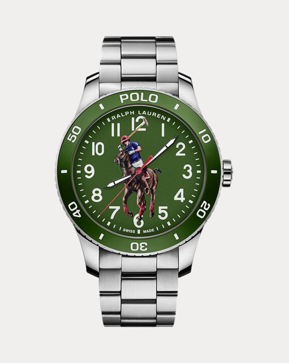 Polo Watch Green Dial Steel Bracelet