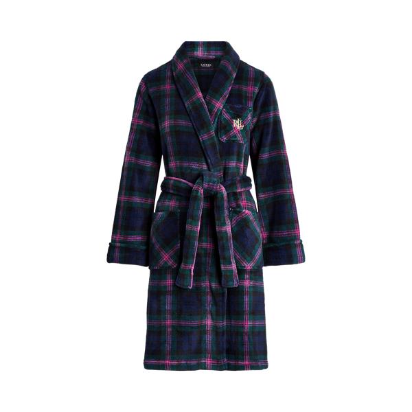 Polo Ralph Lauren Plaid Short Shawl-Collar Robe