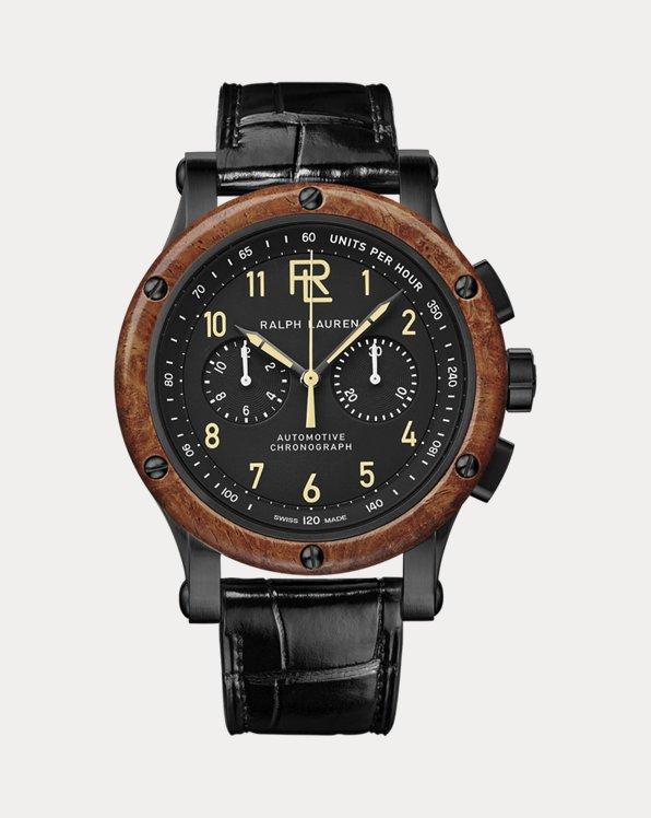 42 MM Chronograph Black Steel Wood Bezel