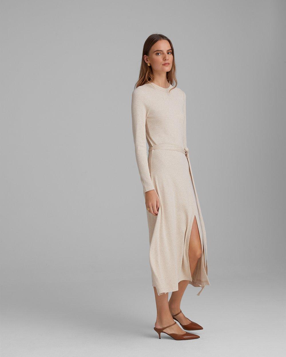 Women's Long Sleeve Rib Knit Dress   Club Monaco