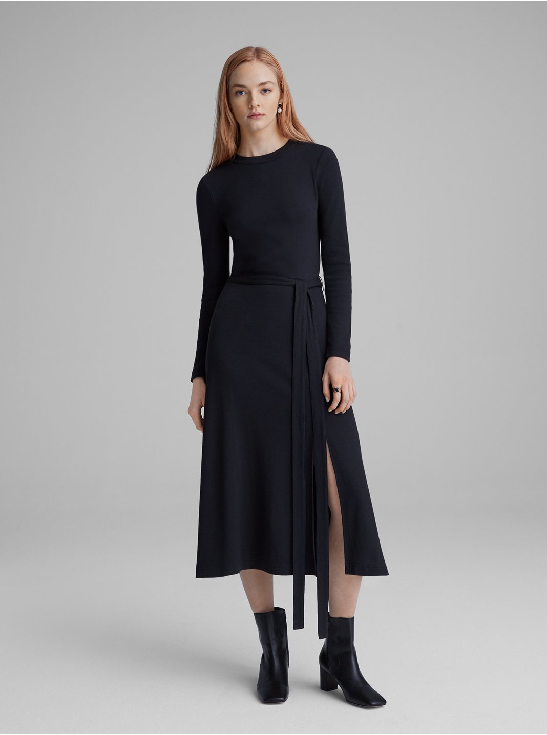Long-Sleeve Rib-Knit Dress