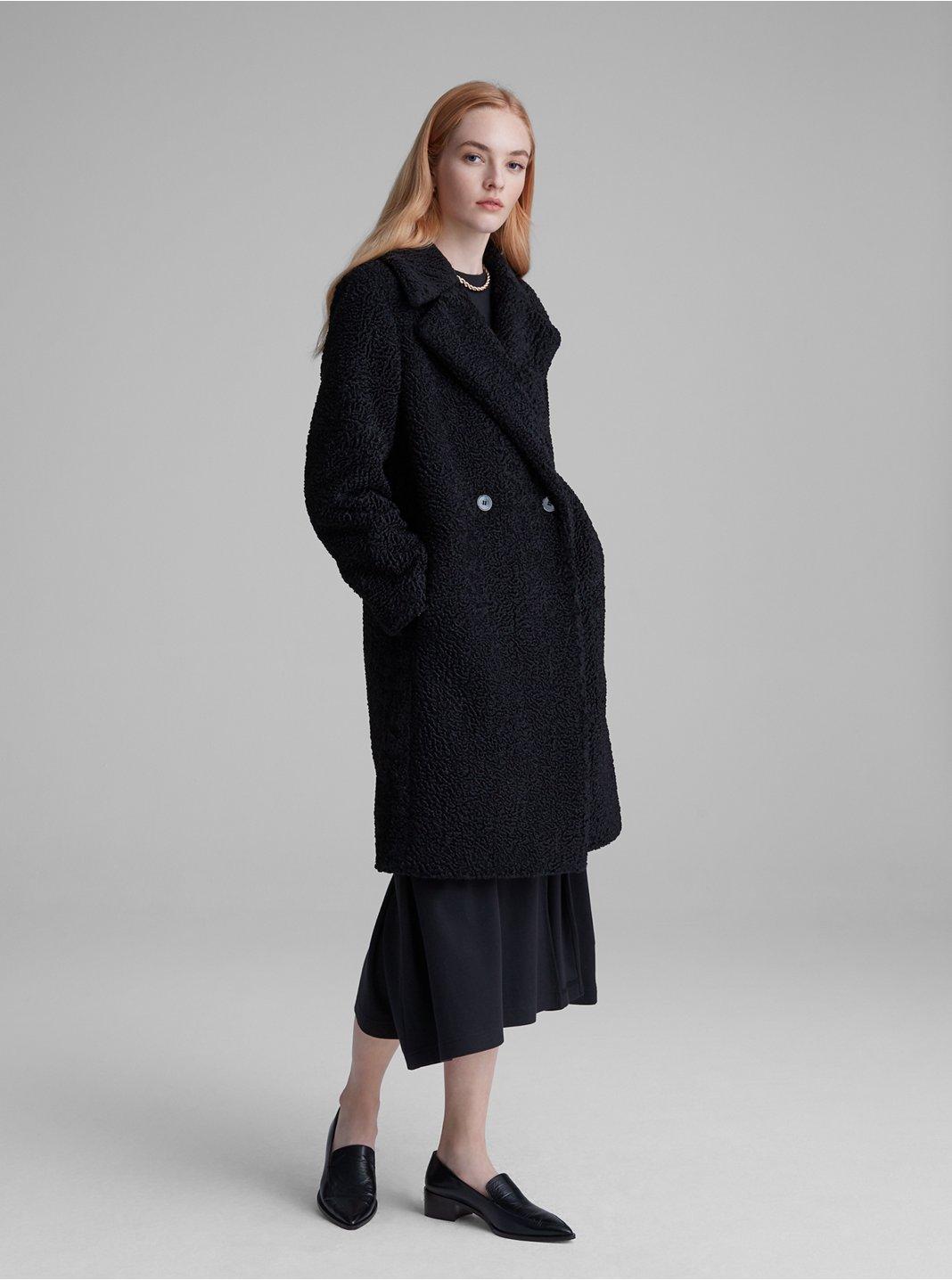 클럽 모나코 에코 아스트라칸 코트 - 블랙 Club Monaco Faux Astrakhan Coat