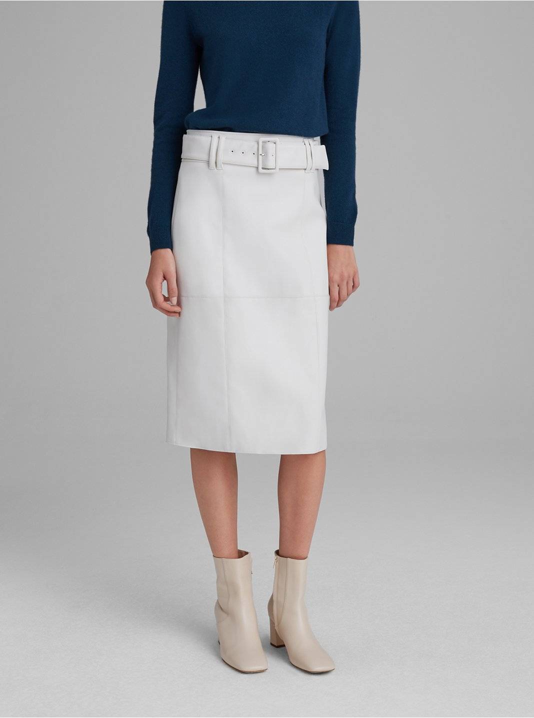 Faux-Leather Belted Skirt
