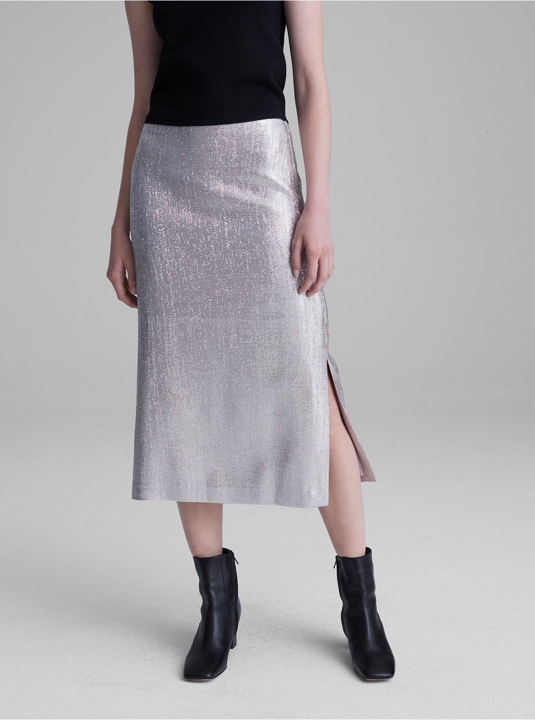 Metallic Midi Skirt