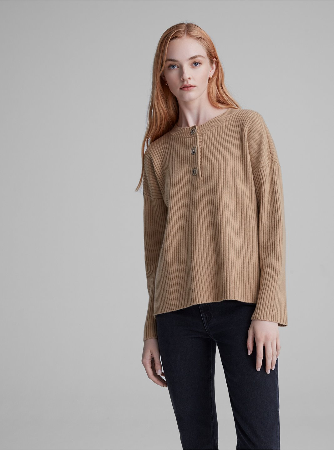 Cashmere Blend Ribbed Henley Sweater