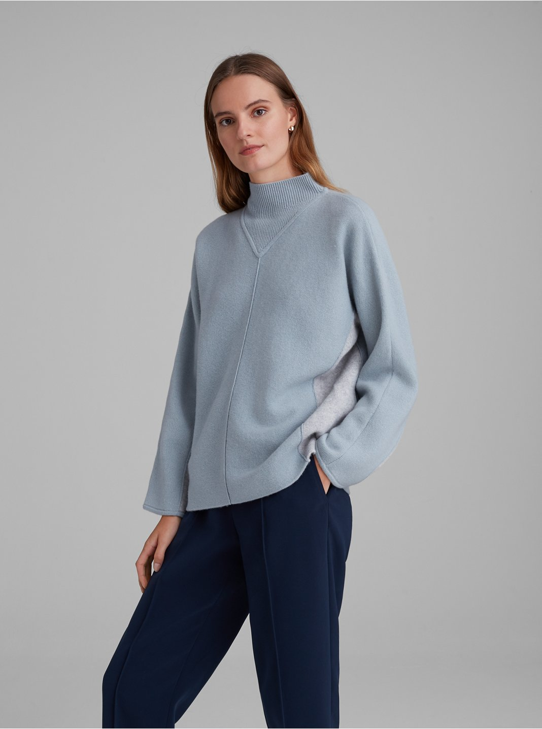 Cashmere Double Face Mockneck Sweater