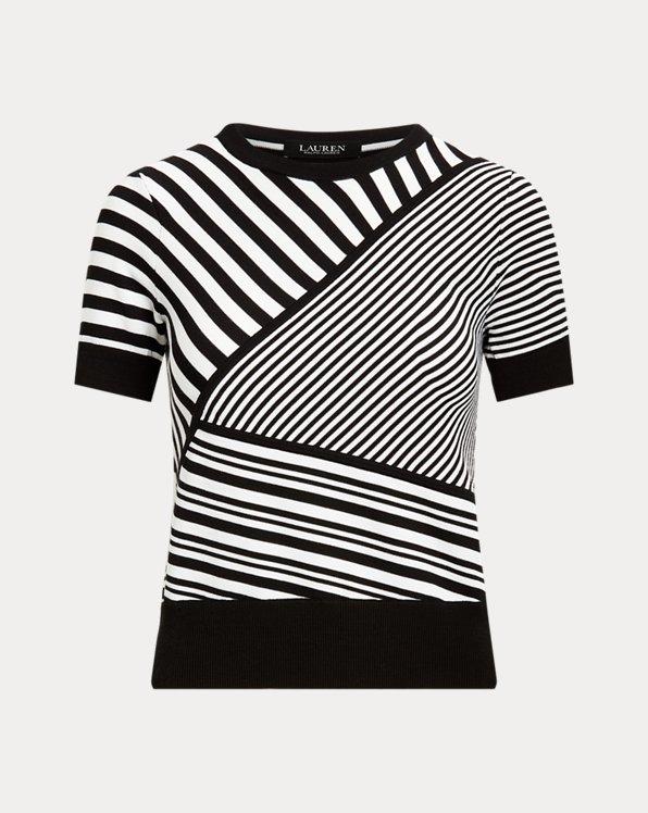 Striped Patchwork Short-Sleeve Jumper