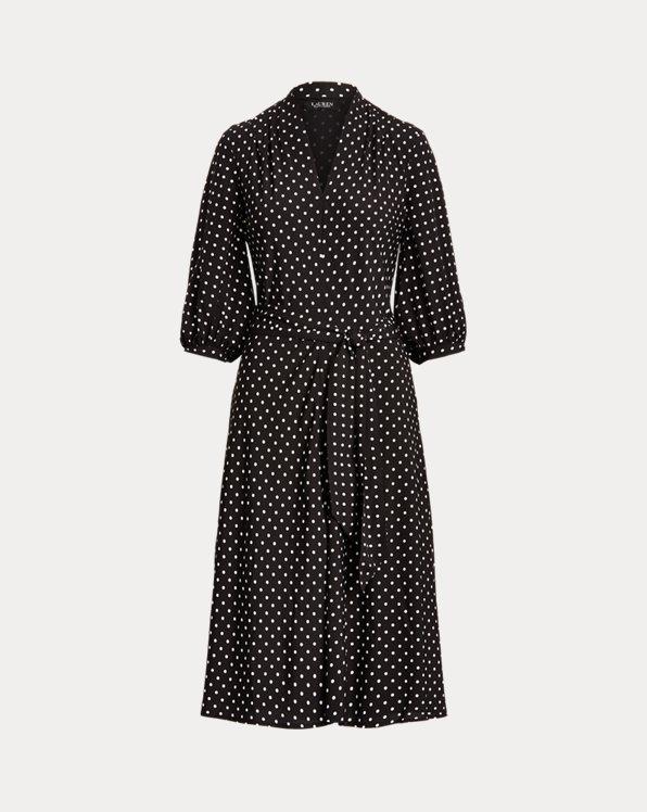 Polka-Dot Bishop-Sleeve Crepe Dress