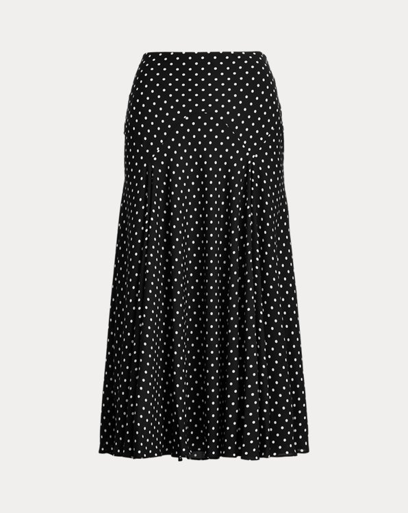 Polka-Dot Georgette Peasant Skirt