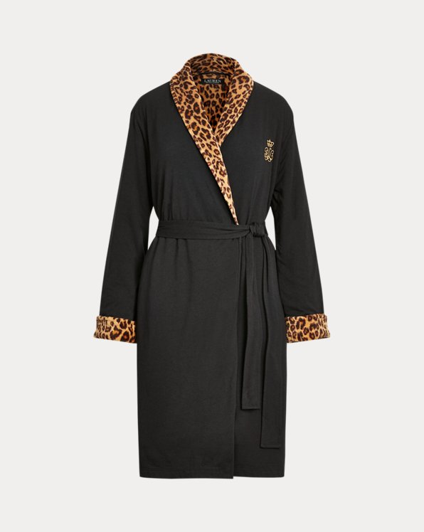 Leopard-Print Short Shawl-Collar Robe