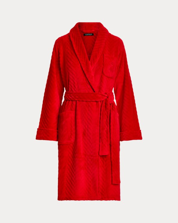 Herringbone Short Shawl-Collar Robe