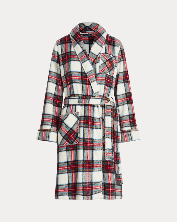 Plaid Short Shawl-Collar Robe