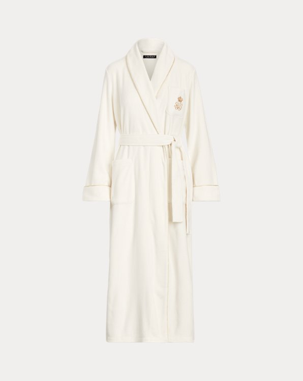 Shawl-Collar Long Fleece Robe
