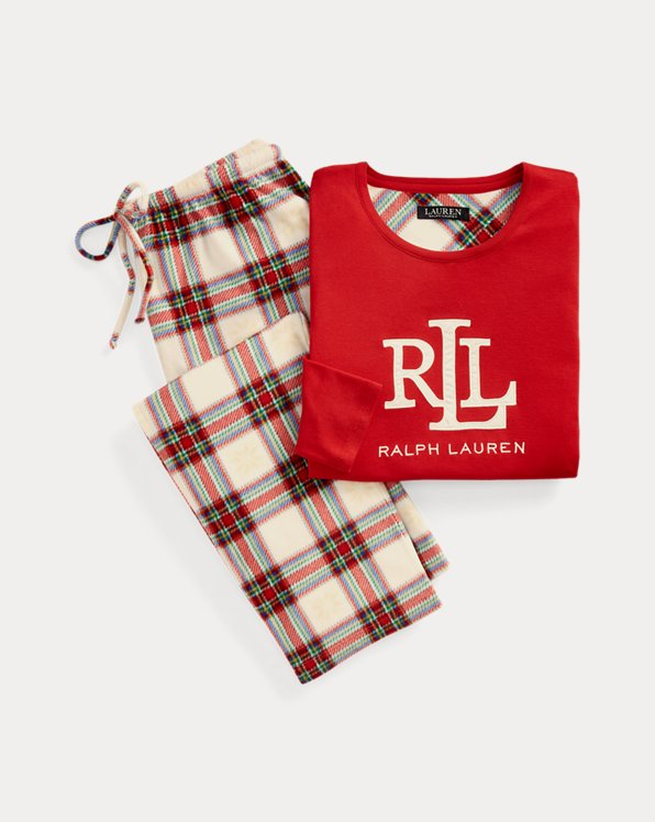 Plaid Logo Sleep Set