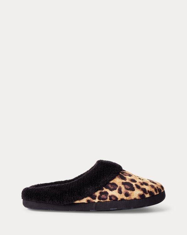 Slipper mit Leopardenmuster und Logo