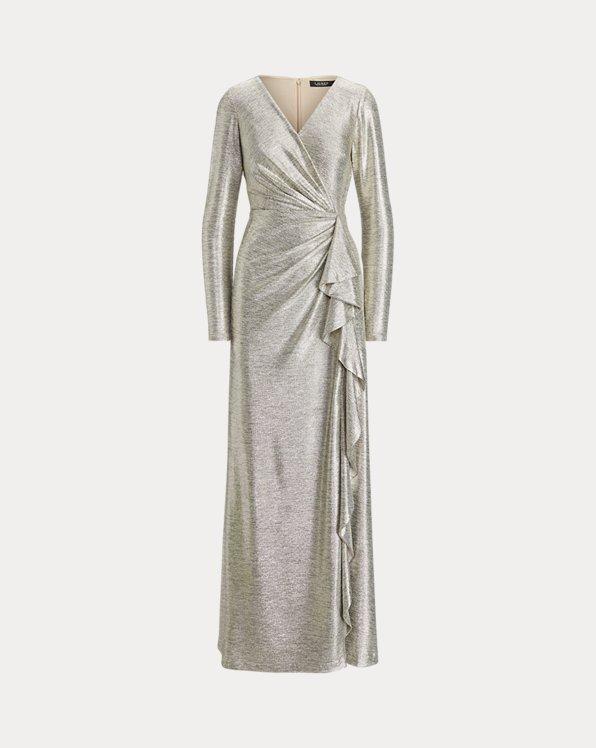 Metallic-Abendkleid mit Rüschen