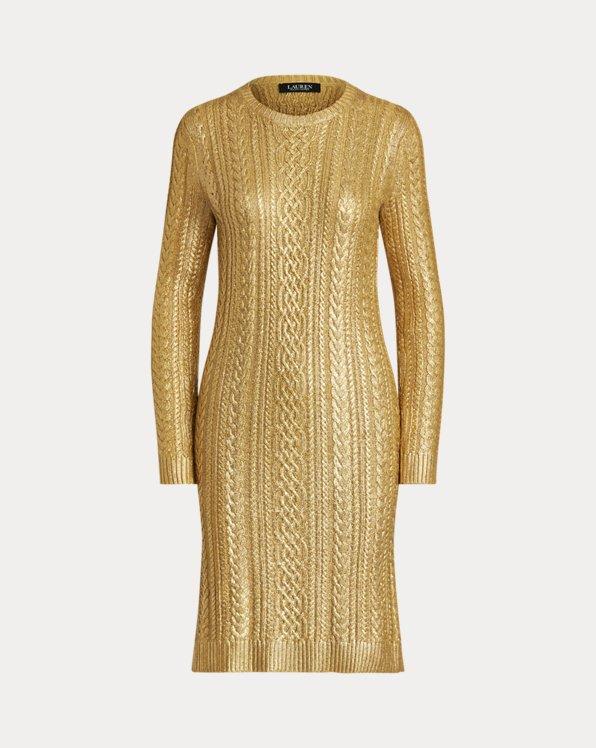 Metallic Cable-Knit Jumper Dress