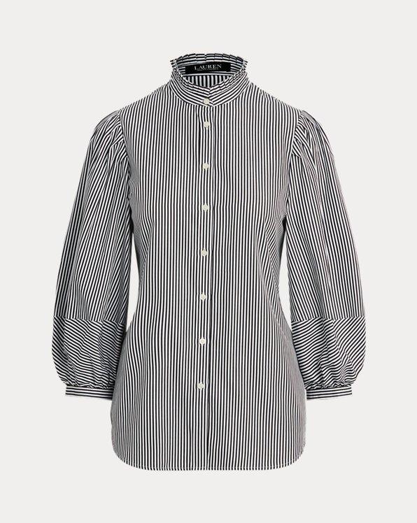 Striped Bishop-Sleeve Cotton Shirt