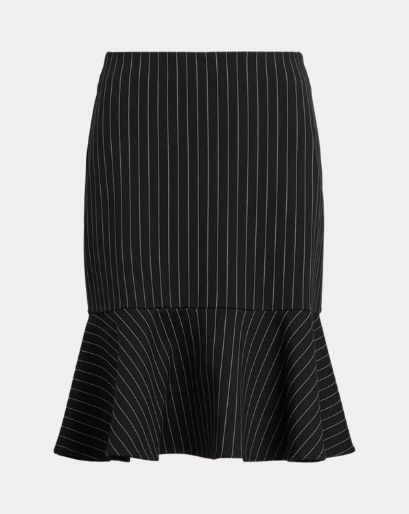Pinstripe Flounced Ponte Skirt