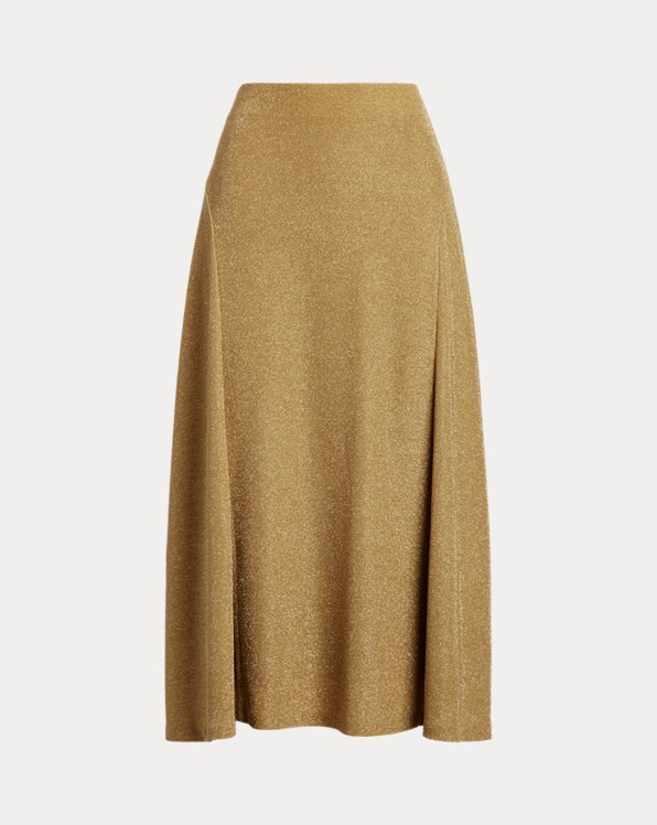Metallic Double-Knit Jacquard Skirt