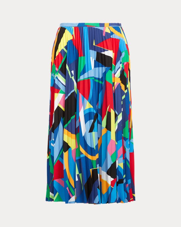 Print Pleated Crepe Skirt