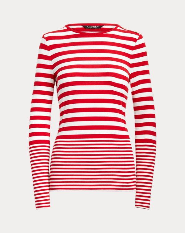 Striped Snap-Trim Long-Sleeve Top