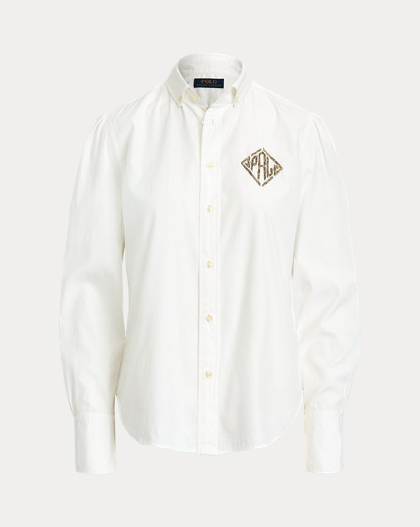 Beaded-Monogram Oxford Shirt