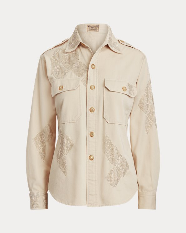 Beaded Cotton Twill Shirt
