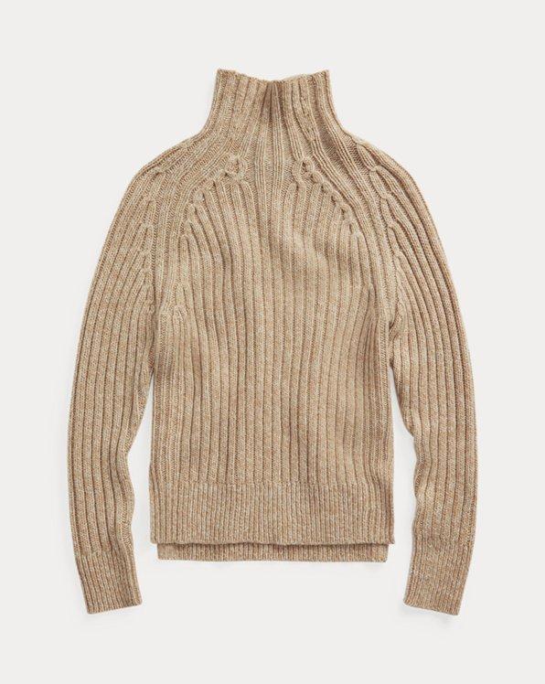 Gerippter Pullover mit Rollkragen