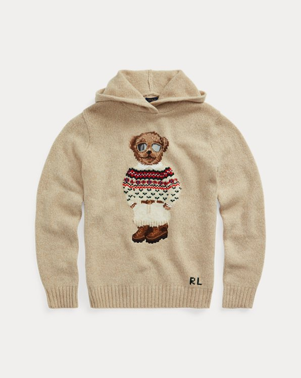 Polo Bear Wool-Blend Knit Hoodie