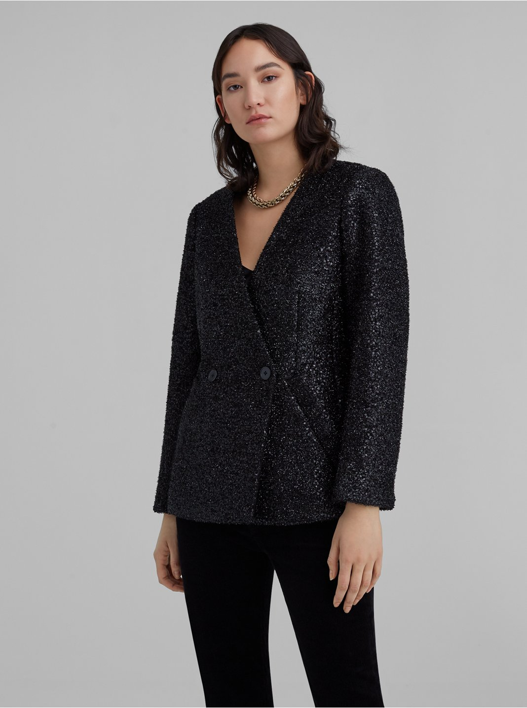 Collarless Party Blazer