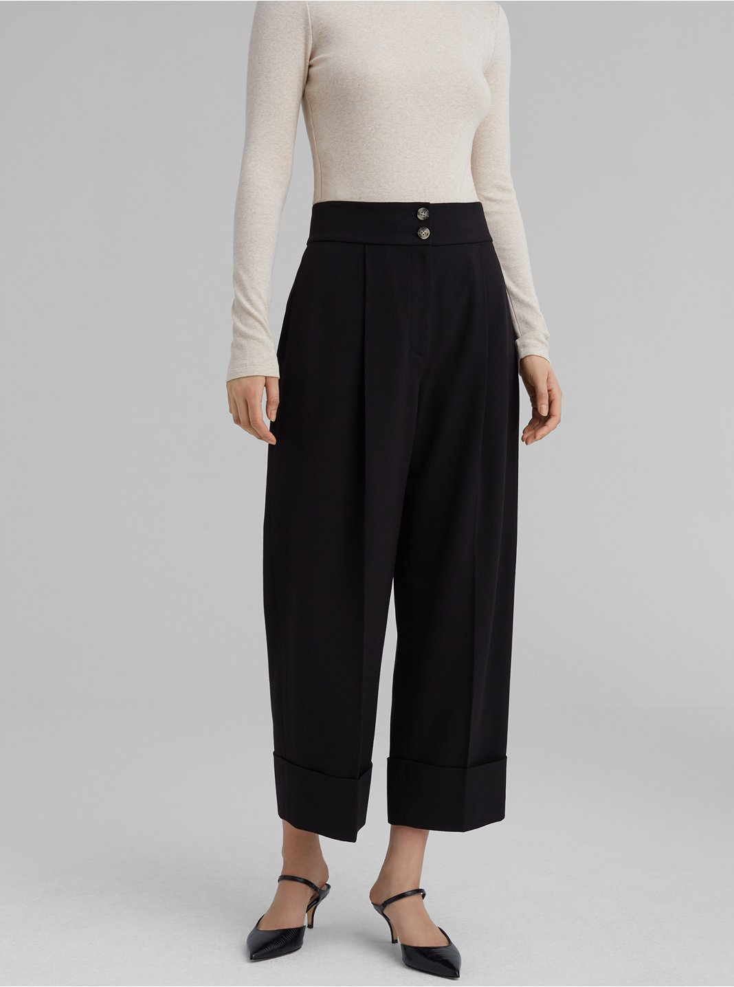 Pleated High Rise Pants