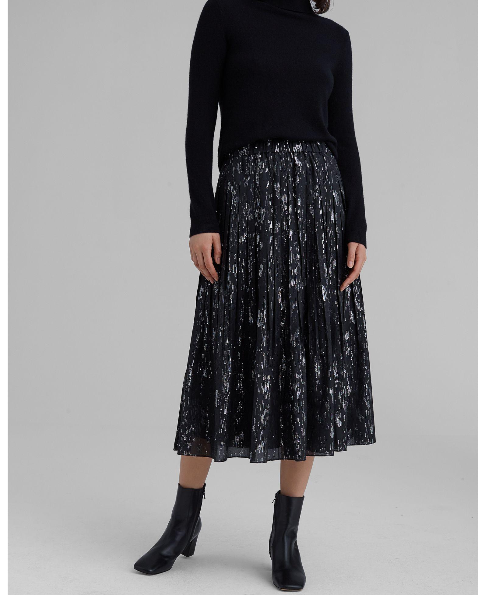 CLUB MONACO Metallic Pleated Skirt