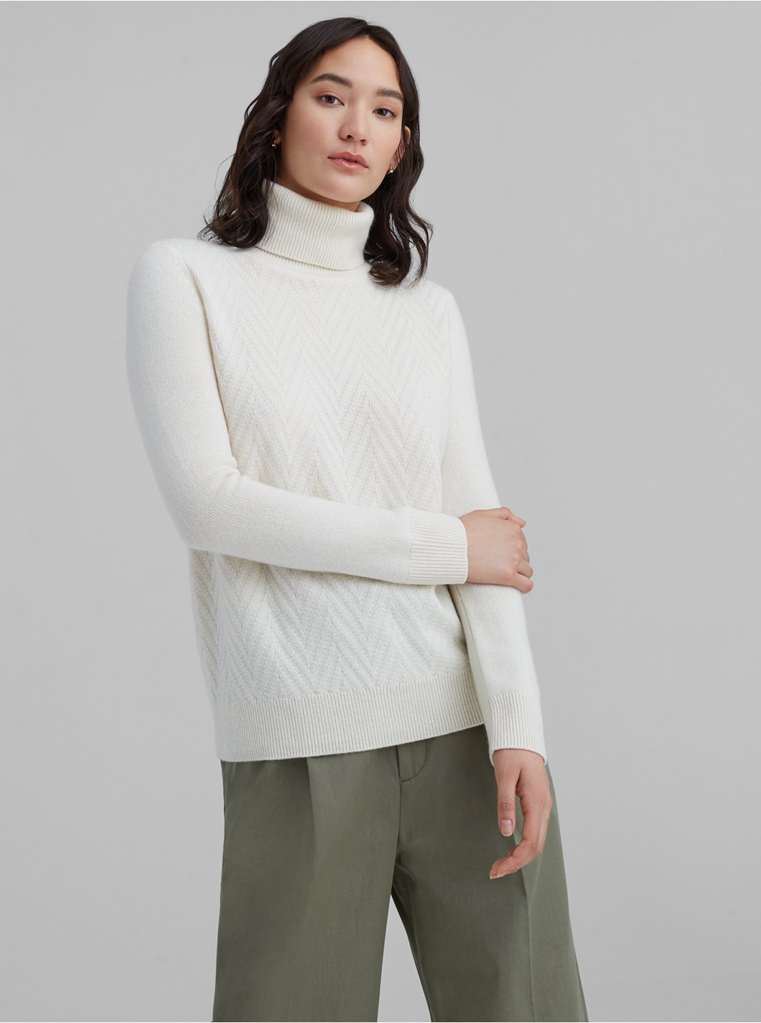 Mixed Stitch Cashmere Turtleneck Sweater