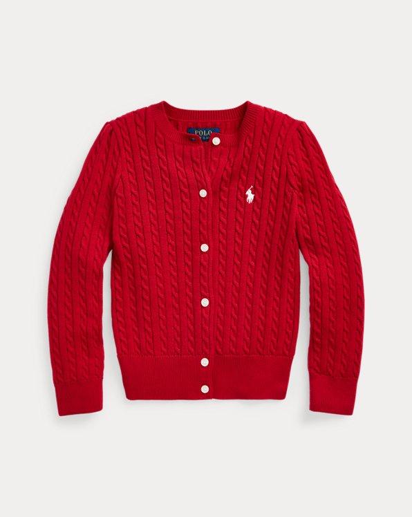 폴로 랄프로렌 여아용 미니 꽈배기 코튼 가디건 - 레드 Polo Ralph Lauren Mini-Cable Cotton Cardigan