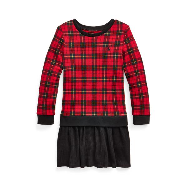 폴로 랄프로렌 여아용 원피스 Polo Ralph Lauren Buffalo Check Terry Sweatshirt Dress,Red Plaid