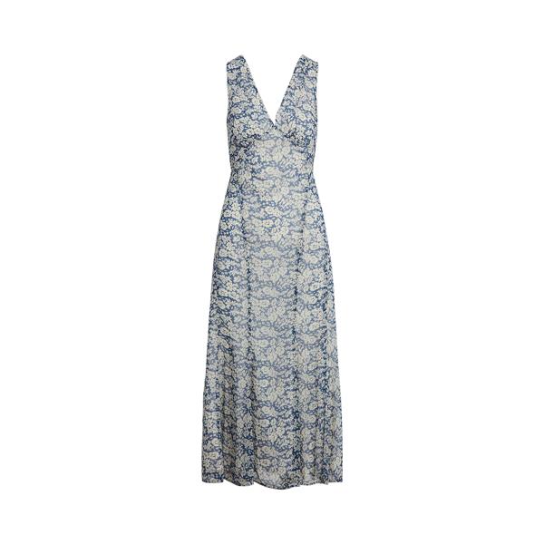 폴로 랄프로렌 Polo Ralph Lauren Floral Print V Neck Dress,Blue/Cream Floral