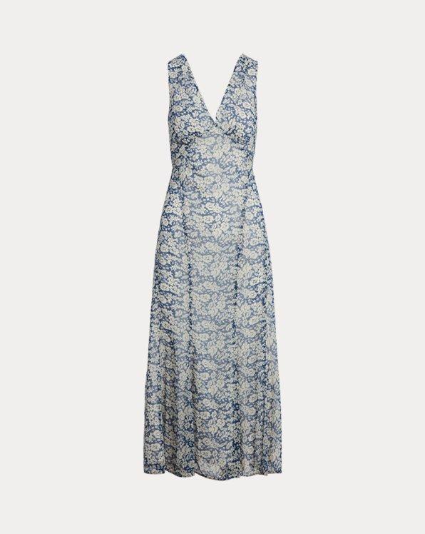 Geblümtes Kleid mit V-Ausschnitt