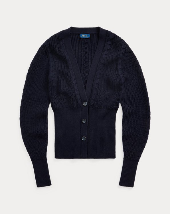 Ribbed Merino Wool Cardigan