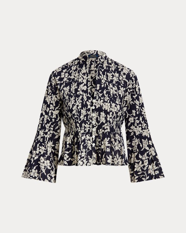 Floral Cotton V-Neck Blouse