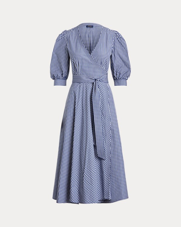 Gingham Cotton Wrap Dress