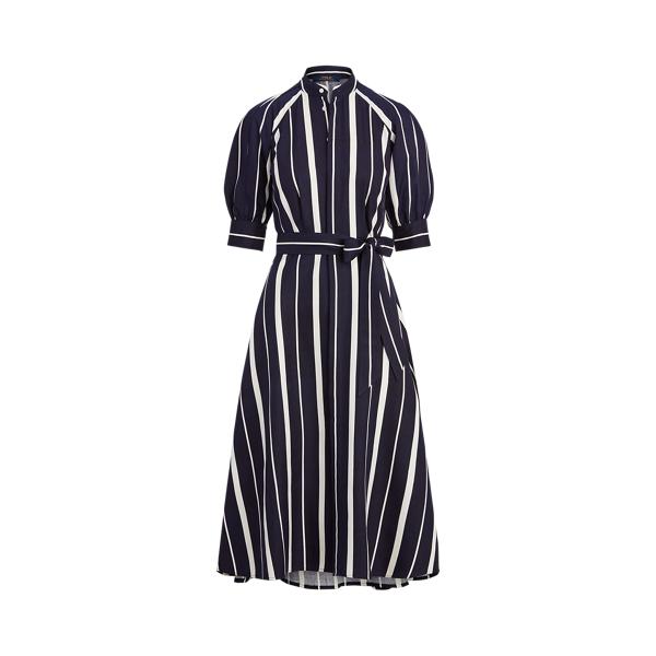 폴로 랄프로렌 Polo Ralph Lauren Striped Silk A Line Dress,Navy/Cream Stripe