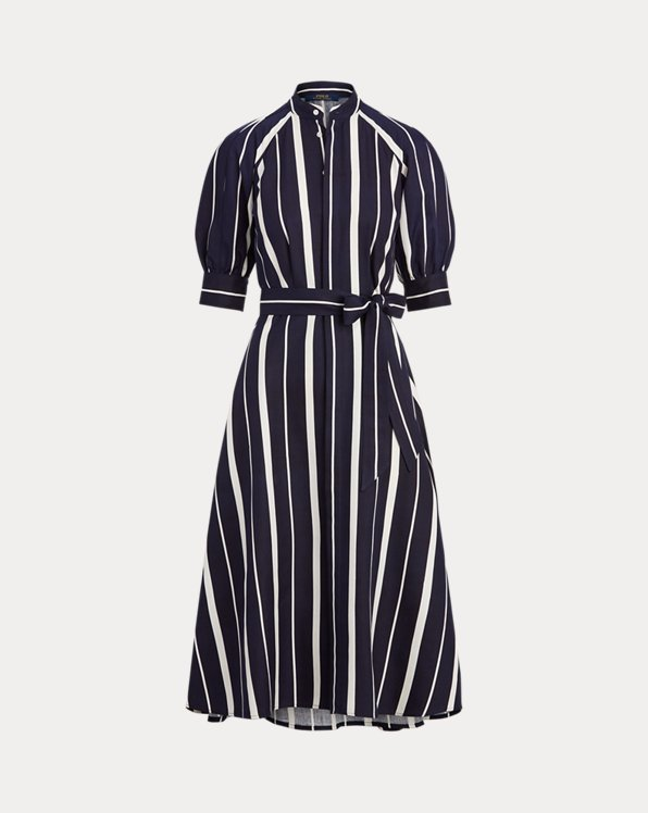 Striped Silk A-Line Dress