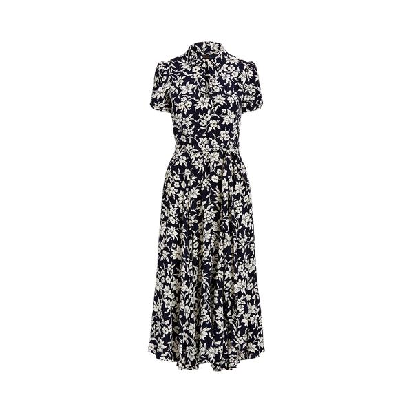폴로 랄프로렌 Polo Ralph Lauren Floral A Line Dress,Navy/Cream Floral