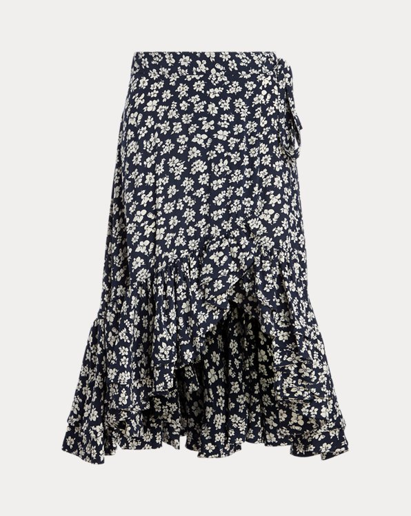 Floral Crepe Wrap Skirt