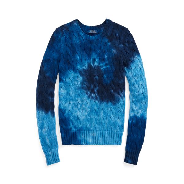 폴로 랄프로렌 Polo Ralph Lauren Tie Dye Cable Knit Cotton Sweater,Blue Multi