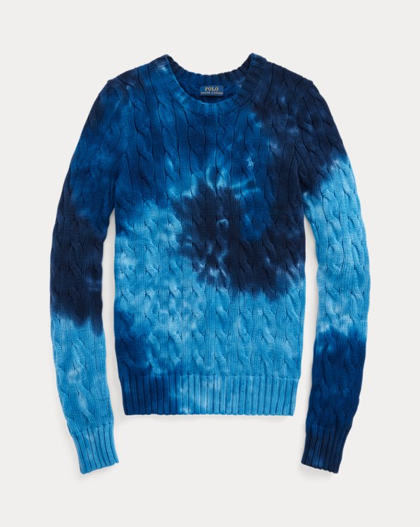 Tie-Dye Cable-Knit Cotton Jumper